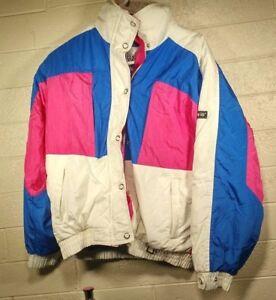 Rare-Vintage-1980-039-s-Profile-Gore-Tex-Ski-Snowboard-Winter-Jacket-Pink-Blue-White