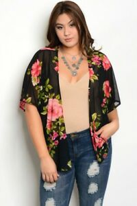 e641b94af4a Women Sheer Plus Size Black Floral Kimono Top Blouse Layer Relaxed ...