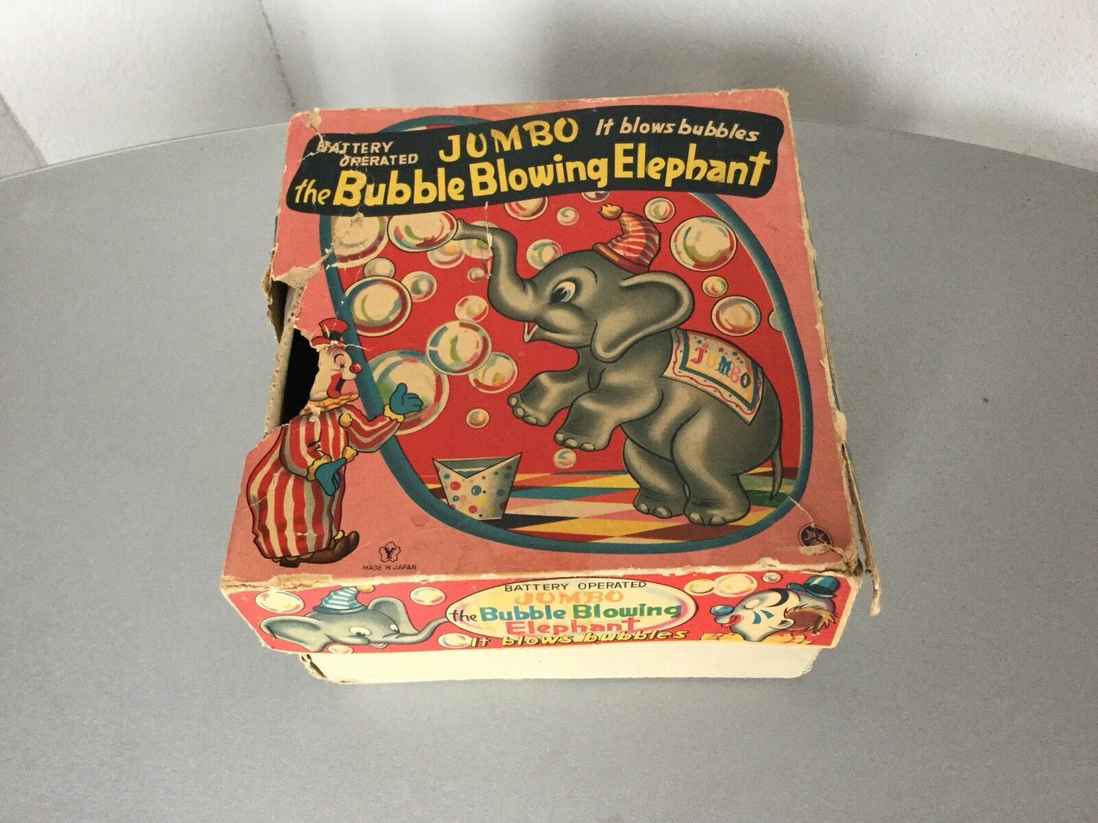 50s  VINTAGE The Bubble Blowing Elephant Battery Operated Tin Toy Yonezawa JAPAN