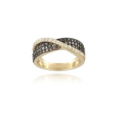 Gold Tone over 925 Silver 3/5ct Champagne Diamond & White Topaz Crossover Ring