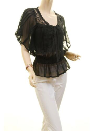 Victorian Black Faux Silk Chiffon Lace Sheer Peasant Batwing Blouse Top S M L