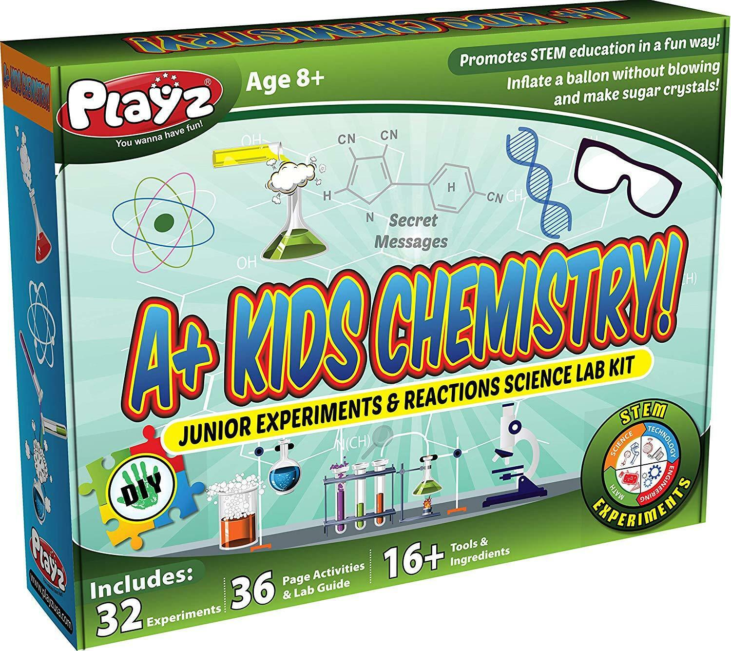 Kids Chemistry Junior Experiments & Reactions Science Lab Kit - Ages 8+ Boy Girl