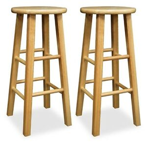 bar stool set of 2 wooden stools natural counter height kitchen wood round seat ebay. Black Bedroom Furniture Sets. Home Design Ideas