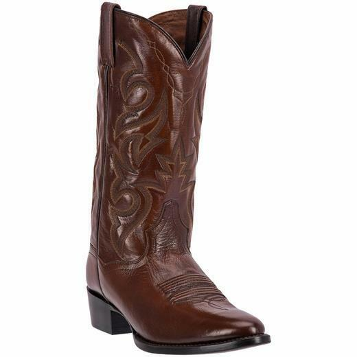 DAN POST MENS ANTIQUE TAN  R TOE LEATHER COWBOY BOOTS DP2111R NEW -  NIB