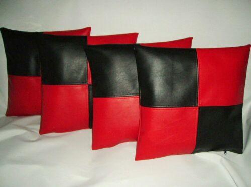 """4 noir et carreaux rouges en cuir synthétique housses de coussin 16/"""" 18/"""" 20/"""" Diffusion Oreillers"""