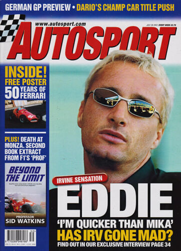 Autosport 26 Jul 2001 German GP, Knockhill BTCC, Franchitti, Irvine, Phil Hill