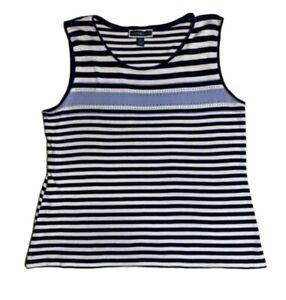 Karen Scott Women XL 100% Cotton Tank Top Sleeveless Blouse Stripe Blue White