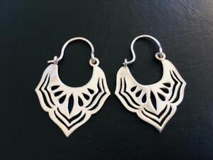925-Sterling-Silver-Hoop-Teardrop-Earrings-Filigree-Lotus-Leaf-Ethnic-Tribal
