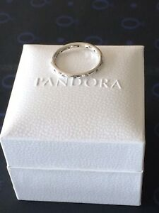 Genuine-Silver925-Pandora-Droplets-Stacking-Ring-Size-54