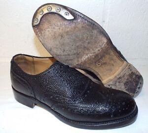 SCOTTISH-BLACK-LEATHER-DRESS-BROGUES-Size-6-Medium-British-army-issue