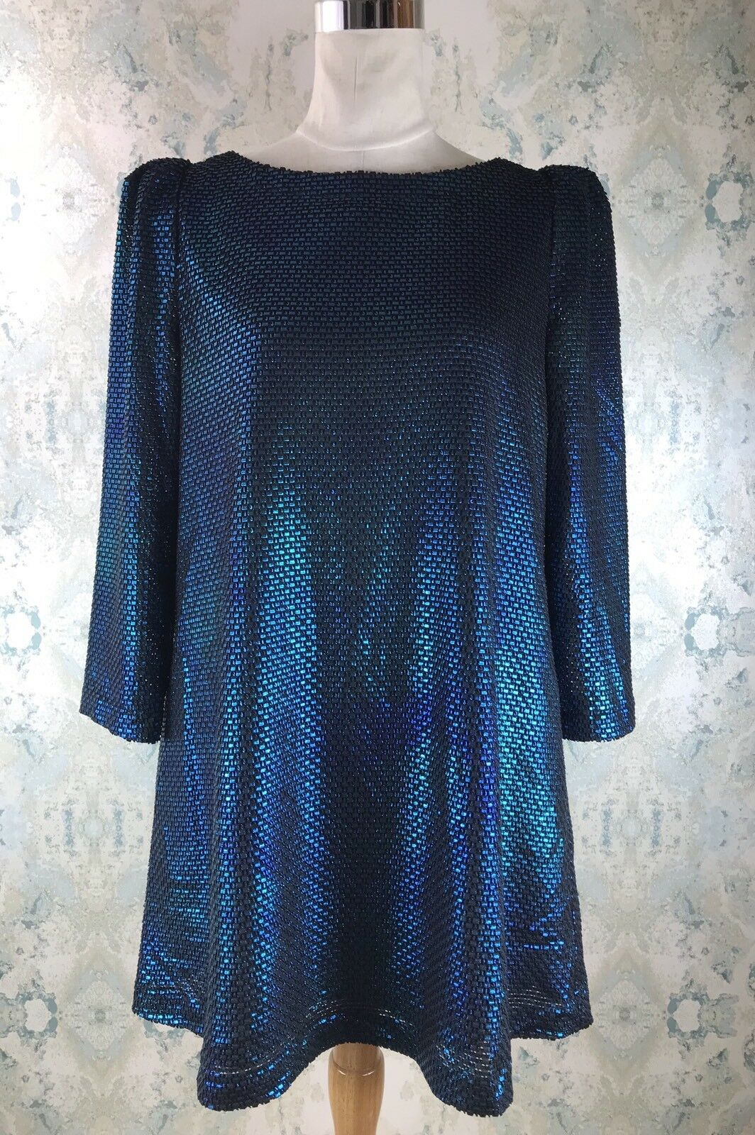 aa3ef0e3ab6 Free People bluee Metallic Textured Long Sleeve Foil Mini Party Dress S