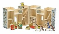 Melissa And Doug Fold And Go Wooden Castle , New, Free Shipping