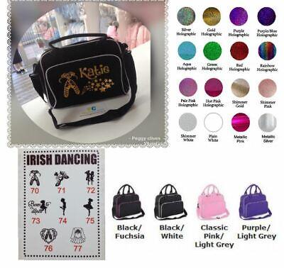 peggys personalised black pink trim irish dance gold holographic dance bag 74