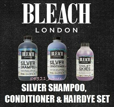 Bleach London Super Cool Colours Silver Shampoo & Conditioner + hairdye bundle