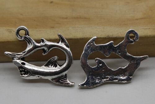 40//80pcs Retro style shark Charm Pendant DIY Jewellery crafts 18x13mm