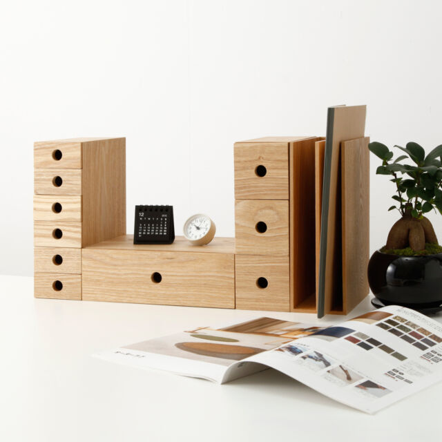 Muji MDF ash wood 1 drawer organize storage box for Accessory small article