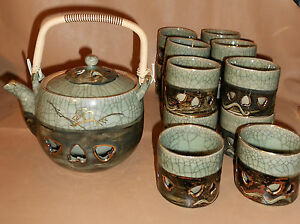 Vintage-Japanese-Somayaki-Double-Wall-Green-Tea-Pot-Heart-Aohibi-Ceramic-14-Cups