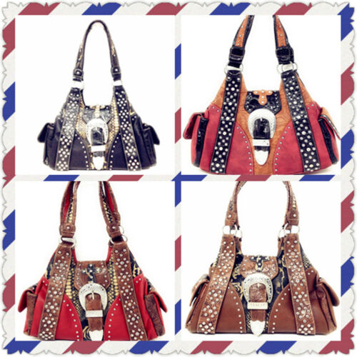 Western Rhinestone Concealed Carry Buckle Style Handbag Purse