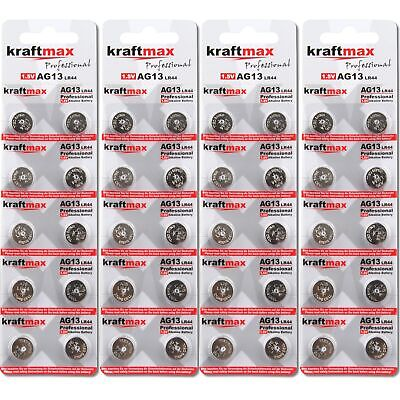 20x Kraftmax AG13 357 Knopfzellen Uhrenbatterien LR44 LR1154 V13 Batterien 20