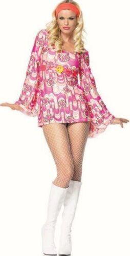 Ladies Hippy 60s Peace daisy Retro fancy dress costume Outfit 8 10 Leg Avenue