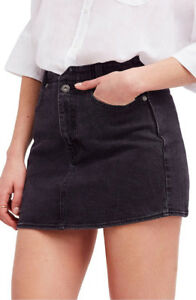 Free People Womens Shes All That Denim OB824603 Skirt Mini Black ... f99476447