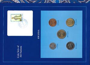 Coin-Sets-of-All-Nations-Rwanda-UNC-1977-1987-50-20-Francs-1977-1-10-Francs-1985