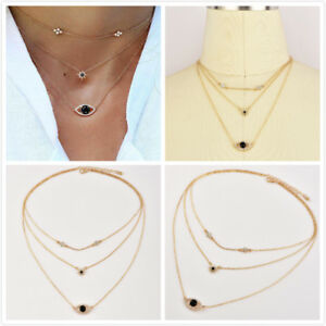 Elegant-Fashion-Women-Gold-Plated-Choker-Star-Evil-Eye-Pendant-Necklace-Jewelry