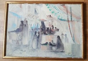 FRAMED-amp-SIGNED-Oil-on-Canvas-by-Egyptian-Artist-29-034-x-21-034-CA-1950-039-s-or-60-039-s