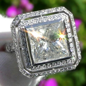 HUGE-9-36ct-Natural-Diamond-Solitaire-ESTATE-Engagement-18K-WHITE-GOLD-RING