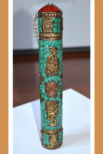 Antique-Vintage-metal-message-Scroll-box-with-brass-figures-all-over-and-stones