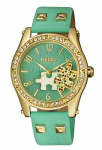 Rebel-Women-039-s-RB111-9121-Gravesend-Crystals-Puzzel-piece-Dial-Teal-Leather-Watch
