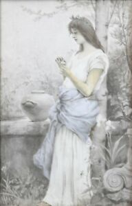 Young-Woman-with-Flower-Painting-on-Porcelain-circa-1890-Art-Nouveau-Signature