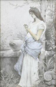 Junges-Frau-mit-Blume-Gemaelde-auf-Porzellan-Circa-1890-Jugendstil-Signatur