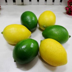 6 Pcs Lifelike Limes Lemon Artificial Plastic Fake Fruit Imitation Home Decors