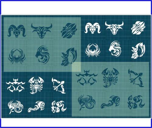 12 Zodiac Star Signs on 2 stencils Astrology 350 micron Mylar 4 Sizes ZOD006