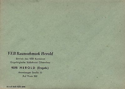 Veb Raumschmuck Erzgebirgische Volkskunst Olbernhau Durchsichtig In Sicht Herold Briefumschlag 1982