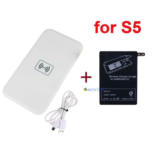 Qi Wireless Charging Pad + Receiver Card for Samsung Galaxy S5 I9600 #JBC MT