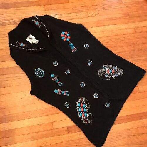 Cardigan con senza lungo tribale nero stampa maniche turchese color rqwrfStZn