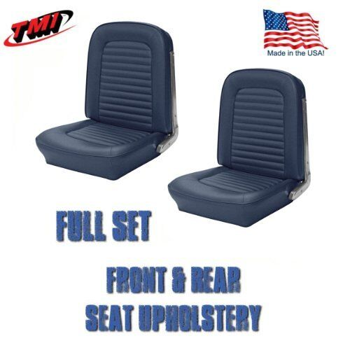 Front /& Rear Seat Upholstery Blue Vinyl for 1964-1//2 /&1965 Mustang 2+2 Fastback