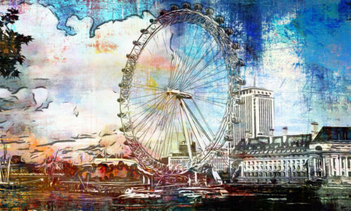 POSTER XXL POP ART GRAFFITI LONDON EYE RIESENRAD ABSTRAKT POSTER BIS 150x90