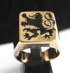 German-Black-Lion-Rampart-Coat-of-Arms-Medieval-Gothic-Knight-Men-039-s-Biker-Ring
