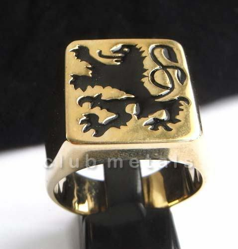 German Black Lion Coat of Arms Men's Biker Ring