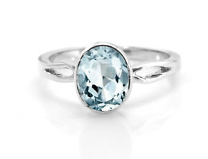 925-Sterling-Silver-Natural-Blue-Aquamarine-Ring-Oval-Gemstone-Size-4-11