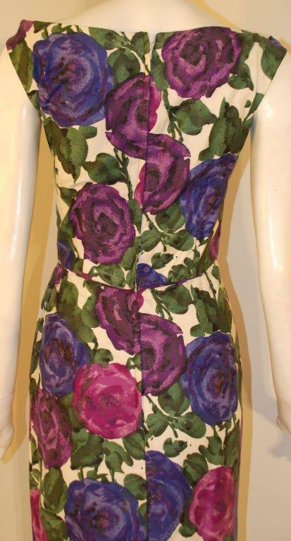 CEIL CHAPMAN 1950s Violet Cotton Floral Print Wig… - image 6