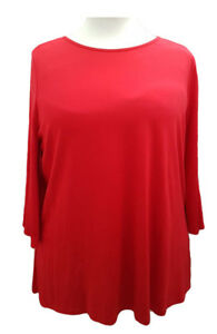 Sizes-16-to-32-Ladies-Plus-Size-Tunic-Top-Red-3-4-Bell-Sleeves-SOFO-Curves
