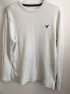 American-Eagle-Outfitters-Men-039-s-Beige-Thermal-Long-Sleeve-Shirt-Large-A35