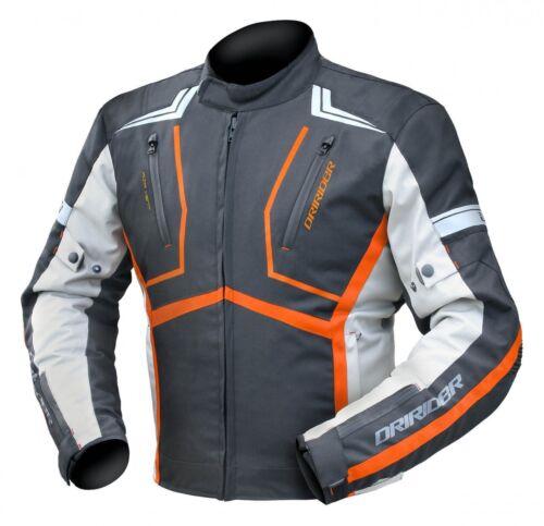 2XL Mens DriRider Strada Touring Waterproof Motorbike Jacket Black Orange