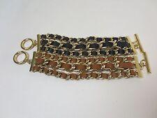 Banana Republic Luxe Leather Gold Link Toggle Braclet NIP $59.50 Black Tan Set 2