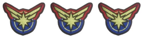 "Captain Marvel Burst Logo 3/"" Wide Embroidered Iron on Patch Set of 3"