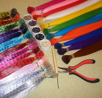Lot of GRIZZLY/SOLID/RAINBOW Synthetic Feather Hair Extensions,BeaDs,Hook,Pliers